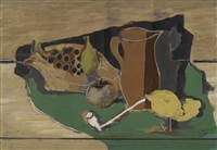 fruits, cruche et pipe by georges braque