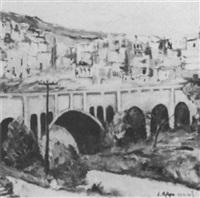wadi rushmia bridge;                    dabei, mappe des kunstlers von 1988 by l. a. pepo