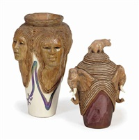 unity vase (+ ceremonial storage vessel and cover; 2 works) by woodrow nash