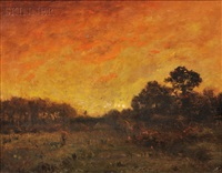 meadow sunset by alexander helwig wyant