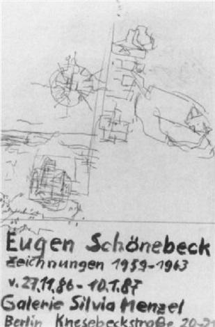 ohne titel entwurf für ausstellungsplakat galerie silvia menzel berlin by eugen schönebeck