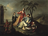 la famille du pacha pique-niquant pres d'une fontaine romaine by karl joseph aigen