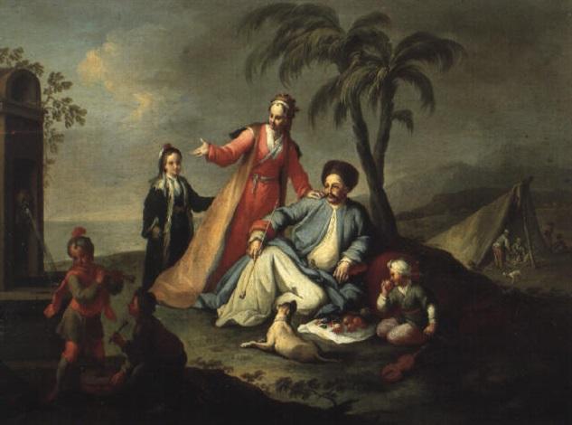 la famille du pacha pique niquant pres dune fontaine romaine by karl joseph aigen
