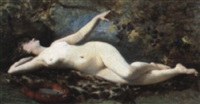 a reclining nude with a tambourine by etienne leroy