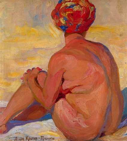 nude wearing a head scarf by anna kruger prakhova