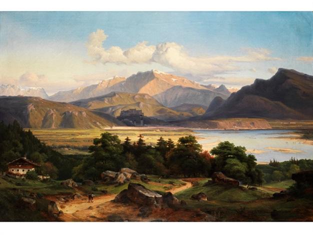 große landschaft am inn by georg heinrich crola