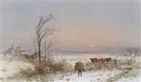 feeding the cattle on a winter's evening by charles branwhite