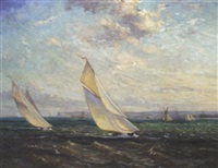 yachts racing in a stiff breeze by alice maud fanner