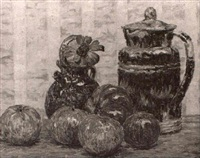 stilleben mit fruchten und krugen by henri aurrens
