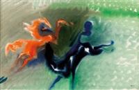 roter und blauer hengst by richard kurt fischer