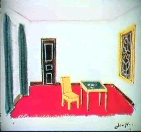 Divan Sur Fond Rouge Table A Jeu Et Chaise En Cuir By Jean Hugo