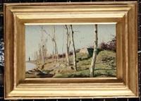 paesaggio autunnale con alberi by eugenio cecconi