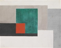 untitled (composition with red square) by ben nicholson