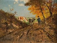 hirte mit zwei kühen am waldrand in sommerlicher landschaft by richard von poschinger