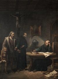 cristóbal colón encomendando a su hijo a los franciscanos by josé maria rodríguez de losada