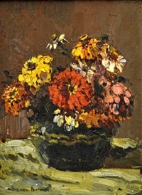 still life with zinnias by adriaan hendrik boshoff