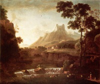 a mountainous landscape with herders watering their animals in the foreground, a fortress beyond by bartholomeus appelman
