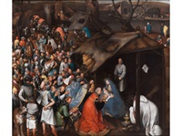anbetung des kindes in betlehem by pieter brueghel the younger