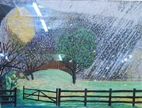 snowing on studio barn by brinsley tyrell