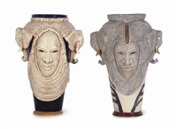 ceremonial storage vessels (2 works) by woodrow nash