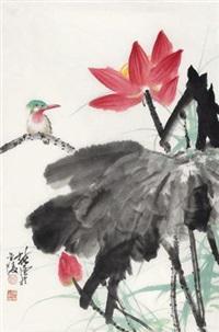 荷花小鸟 by xu chunyuan