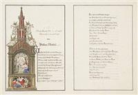 gotischer altar mit stehendem christus, darunter erwachende (illus. for church song) by gustav ferdinand könig