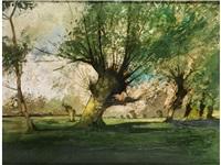 sommerliche landschaft mit bäumen by anton müller-wischin