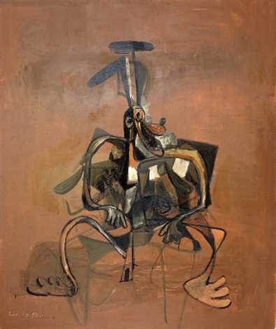 brown abstract dog by george condo