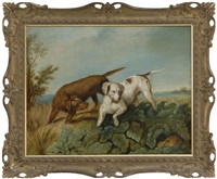 two hounds hunting a rabbit by philipp reinagle