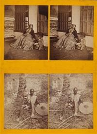 hart syrie. femme syrienne. homme syrien posant près d'un palmier. deux vues stéréoscopiques hors format, exceptionnellement grande (set of 2) by ludovico wolfgang hart