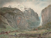 lauterbrunnen valley with staubbach falls and the jungfrau, switzerland by harry goodwin