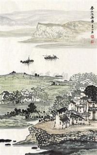 春江泛舟图 by liu shanhong