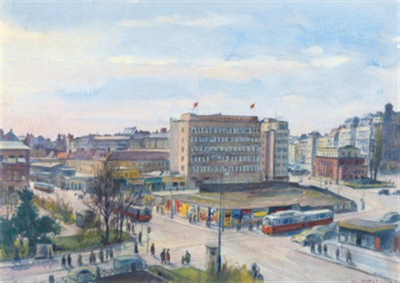 karlsplatz kreuzung wiedner hauptstraße mit dem parkhaus und dem freihaus by paul robert passini