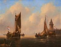 barques de pêche au coucher du soleil by g. van emmerson