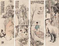 人物 (figure) (4 works) by xu xiang
