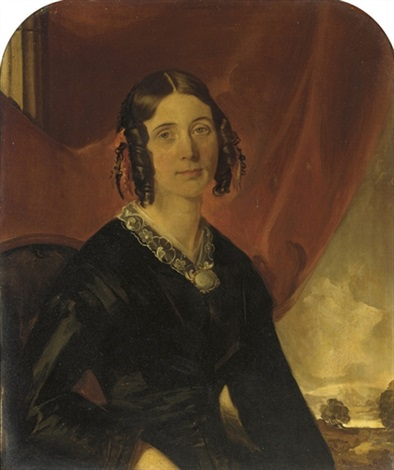 portrait of a lady (+ portrait of a gentleman; pair) by miller