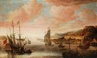 südländischer hafen mit regem schiffstreiben by jacob knyff