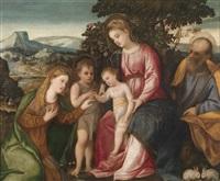 die mystische vermählung der heiligen katharina by bonifazio de pitati and antonio palma