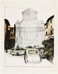 packed fountain and packed tower, spoleto (set of 5) by christo and jeanne-claude