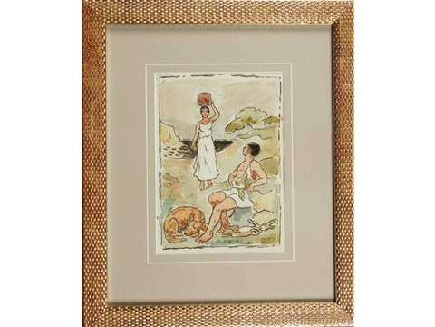 le chasseur et la porteuse deau femme et son bébé à la cueillette des pommes 2 works by paul emile colin