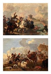 scène de cavalerie (pair) by jacques courtois