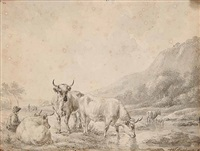untitled - grazing by hendrik van de sande bakhuyzen