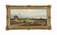 ruins in an italian landscape by andreas achenbach