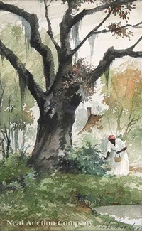 african american woman in tignon picking berries by john korver