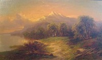 landscape with mountains by s.j. remington