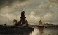 flusslandschaft mit fischerboot und windmühle by andreas achenbach