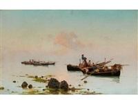fischerboote am meeresufer by pietro barucci