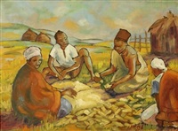 natives threshing - transvaal by iris ampenberger