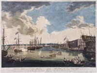 view of the royal dock yard at deptford by william woollett