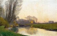 coucher de soleil sur rivière by louis alexandre cabié